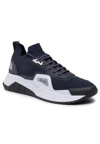 Hugo - Sneakersy HUGO - Atom 50451655 10232616 01 Dark Blue 402. Okazja: na co dzień. Kolor: niebieski. Materiał: materiał. Szerokość cholewki: normalna. Styl: klasyczny, sportowy, elegancki, casual