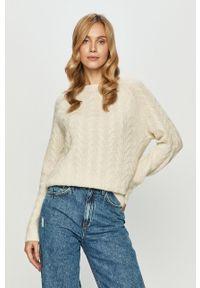 Kremowy sweter Vero Moda casualowy, z długim rękawem, na co dzień, długi