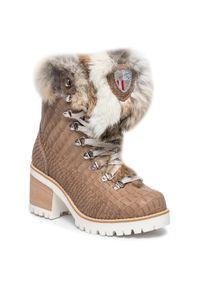 Brązowe botki New Italia Shoes z aplikacjami, na obcasie