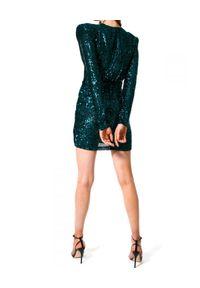 AGGI - Cekinowa sukienka mini. Okazja: na karnawał, na wesele, na imprezę, na ślub cywilny. Kolor: zielony. Długość rękawa: długi rękaw. Długość: mini