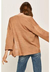 Beżowy sweter rozpinany ANSWEAR casualowy, na co dzień
