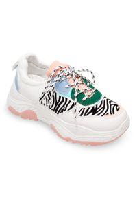 Białe buty sportowe BELLO STAR na co dzień, w kolorowe wzory