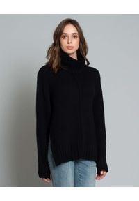 HEMISPHERE - Sweter z wełny i kaszmiru. Okazja: na co dzień. Typ kołnierza: golf. Kolor: czarny. Materiał: kaszmir, wełna. Styl: elegancki, casual