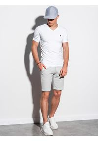 Biały t-shirt Ombre Clothing z dekoltem w serek, klasyczny