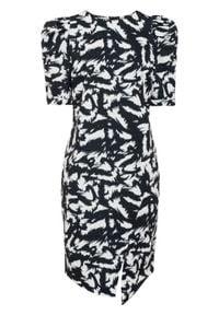 Sukienka, krótki rękaw bonprix czarno-biały wzorzysty. Kolor: czarny. Długość rękawa: krótki rękaw. Wzór: nadruk. Typ sukienki: asymetryczne