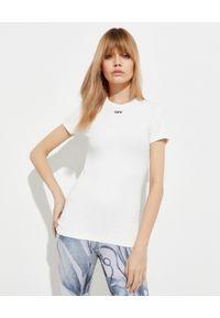 OFF-WHITE - Biały t-shirt z logo. Kolor: biały. Materiał: bawełna. Długość rękawa: długi rękaw. Długość: długie. Styl: elegancki