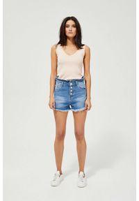 MOODO - Szorty jeansowe high waist. Stan: podwyższony. Materiał: jeans. Wzór: gładki