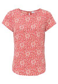 Bluzka z nadrukiem bonprix rabarbarowy w kwiaty. Kolor: różowy. Wzór: nadruk, kwiaty
