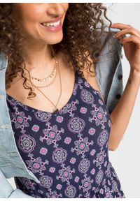 Długa sukienka wzorzysta na cienkich ramiączkach bonprix ciemnoniebieski wzorzysty. Kolor: niebieski. Długość rękawa: na ramiączkach. Długość: maxi
