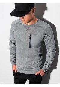 Ombre Clothing - Bluza męska bez kaptura B1151 - szary melanż - XXL. Typ kołnierza: bez kaptura. Kolor: szary. Materiał: bawełna, jeans, dzianina, materiał, tkanina, poliester. Wzór: melanż