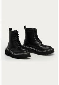 Czarne botki Karl Lagerfeld klasyczne, na obcasie, na sznurówki