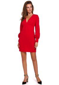 MAKEOVER - Czerwona Sukienka z Długim Bufiastym Rękawem. Kolor: czerwony. Materiał: poliester, elastan