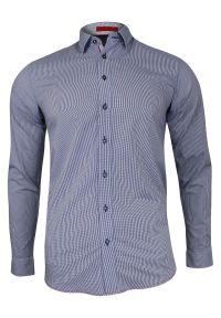 Niebieska elegancka koszula Rey Jay w kratkę, z długim rękawem, długa