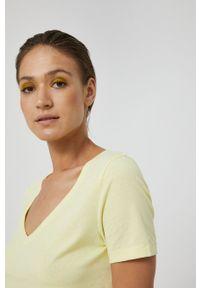 medicine - Medicine - T-shirt Basic. Kolor: żółty. Materiał: bawełna, dzianina, włókno