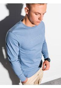 Ombre Clothing - Bluza męska bez kaptura z nadrukiem B1160 - niebieska - XXL. Typ kołnierza: bez kaptura. Kolor: niebieski. Materiał: poliester, bawełna. Wzór: nadruk. Sezon: wiosna, lato. Styl: klasyczny