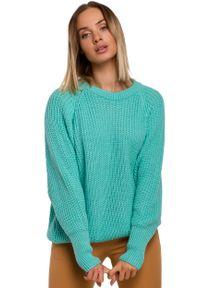Zielony sweter MOE z klasycznym kołnierzykiem, klasyczny, w prążki