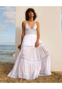 CHARO RUIZ IBIZA - Biała sukienka z koronką Cindy. Kolor: biały. Materiał: koronka. Długość rękawa: na ramiączkach. Wzór: koronka. Długość: maxi