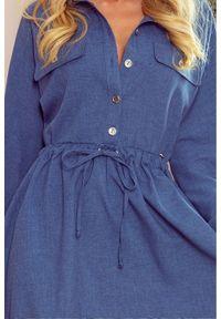 Numoco - Koszulowa rozkloszowana sukienka szmizjerka jeans. Materiał: jeans. Długość rękawa: krótki rękaw. Typ sukienki: koszulowe, szmizjerki