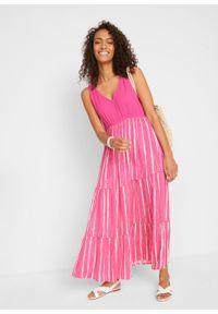 Różowa sukienka bonprix w paski, z dekoltem w serek, maxi