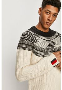 Kremowy sweter Tommy Hilfiger Tailored długi, na co dzień