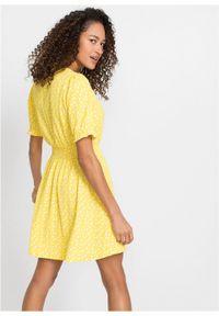 Żółta sukienka bonprix w kropki
