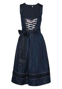Sukienka ludowa z haftowanym fartuchem z satyny bonprix ciemnoniebiesko-pastelowy jasnoróżowy wzorzysty. Kolor: niebieski. Materiał: satyna. Wzór: haft. Styl: elegancki