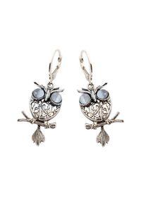 Polcarat Design - Srebrne kolczyki kocie oko SOWA K 1669. Materiał: srebrne. Kolor: srebrny. Wzór: ażurowy, aplikacja