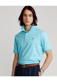 Ralph Lauren - RALPH LAUREN - Niebieska koszulka polo Custom Slim Fit. Okazja: na co dzień. Typ kołnierza: polo. Kolor: niebieski. Materiał: bawełna. Wzór: haft, kolorowy. Styl: casual