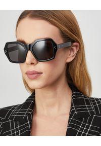 CELINE - Geometryczne okulary przeciwsłoneczne. Kolor: czarny. Materiał: materiał. Wzór: geometria