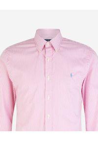 Ralph Lauren - RALPH LAUREN - Koszula w paski Slim Fit. Okazja: na co dzień, na spotkanie biznesowe. Typ kołnierza: polo. Kolor: różowy, wielokolorowy, fioletowy. Wzór: paski. Styl: klasyczny, casual, biznesowy