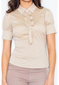 Beżowa bluzka Figl elegancka, z kokardą