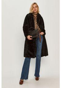 Czarny płaszcz Trussardi Jeans klasyczny, z włoskim kołnierzykiem