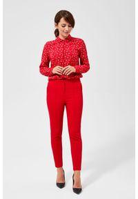 Czerwone spodnie MOODO z haftami, długie
