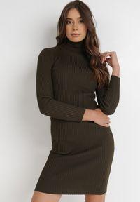 Born2be - Ciemnozielona Sukienka Rosea. Typ kołnierza: golf. Kolor: zielony. Materiał: jeans, wiskoza, dzianina, prążkowany. Długość rękawa: długi rękaw. Typ sukienki: dopasowane. Długość: mini