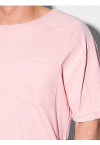 Ombre Clothing - T-shirt męski bawełniany S1386 - jasnoróżowy - XXL. Kolor: różowy. Materiał: bawełna