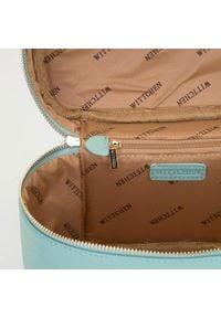 Wittchen - Damska kosmetyczka kuferek duża. Kolor: miętowy. Materiał: skóra ekologiczna. Wzór: aplikacja #4