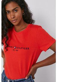 TOMMY HILFIGER - Tommy Hilfiger - T-shirt. Okazja: na co dzień. Kolor: pomarańczowy. Materiał: bawełna, dzianina. Wzór: nadruk. Styl: casual