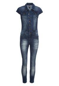 Kombinezon dżinsowy z guzikami bonprix ciemnoniebieski denim. Kolor: niebieski. Materiał: denim. Styl: elegancki