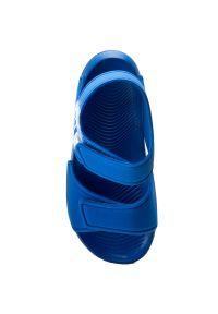 Niebieskie sandały Adidas na rzepy, w paski, na lato