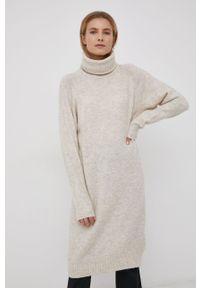 Vero Moda - Sukienka z domieszką wełny. Typ kołnierza: golf. Kolor: beżowy. Materiał: wełna. Długość rękawa: raglanowy rękaw. Wzór: gładki