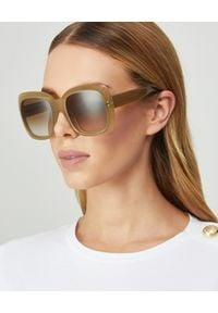 CELINE - Okulary przeciwsłoneczne. Kolor: beżowy. Wzór: geometria