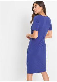 Niebieska sukienka bonprix z krótkim rękawem, elegancka, asymetryczna