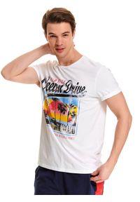 Biały t-shirt TOP SECRET wakacyjny, krótki