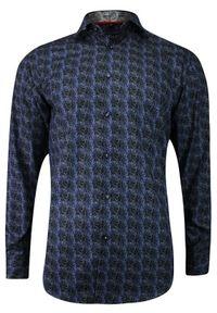 Niebieska elegancka koszula Bello długa, z długim rękawem