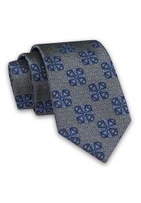 Alties - Szary Elegancki Męski Krawat -ALTIES- 7cm, Stylowy, Klasyczny, w Niebieski Wzór Geometryczny. Kolor: niebieski. Materiał: tkanina. Wzór: geometria. Styl: klasyczny, elegancki