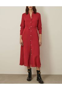 Marella - MARELLA - Czerwona sukienka koszulowa Display. Typ kołnierza: bez kołnierzyka. Kolor: czerwony. Materiał: wiskoza, materiał, elastan. Długość rękawa: długi rękaw. Typ sukienki: koszulowe. Długość: maxi