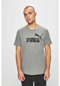 Szary t-shirt Puma casualowy, na co dzień, z nadrukiem