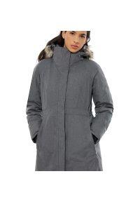 Brązowa kurtka The North Face na zimę, raglanowy rękaw