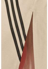 Beżowa bluzka adidas Performance casualowa, z nadrukiem, na co dzień
