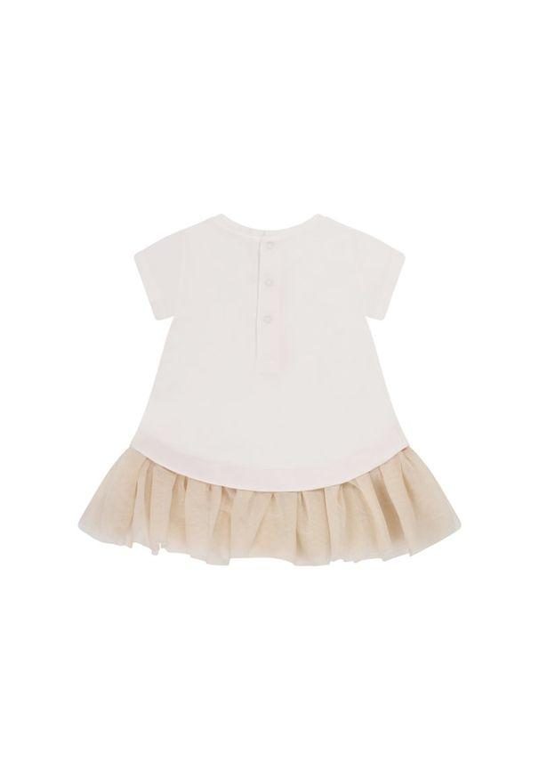 Biała sukienka Mayoral na co dzień, prosta, casualowa